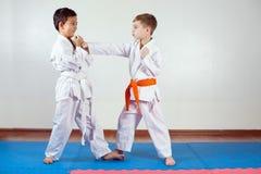 Deux garçons démontrent des arts martiaux fonctionnant ensemble image libre de droits