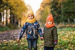 Deux garçons dans des chapeaux colorés marchant en parc photos libres de droits