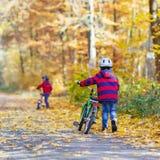 Deux garçons de petit enfant avec des bicyclettes dans la forêt d'automne Images libres de droits