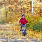 Deux garçons de petit enfant avec des bicyclettes dans la forêt d'automne Photographie stock