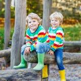 Deux garçons de petit enfant ayant l'amusement sur le terrain de jeu d'automne Image stock