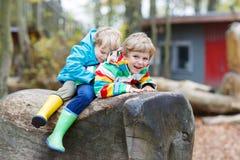 Deux garçons de petit enfant ayant l'amusement sur le terrain de jeu d'automne Photos stock