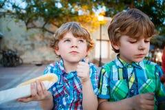 Deux garçons de petit enfant mangeant les hot-dogs dehors Images libres de droits