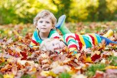 Deux garçons de petit enfant s'étendant dans des feuilles d'automne dans l'habillement coloré Images libres de droits