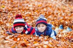 Deux garçons de petit enfant se situant dans des feuilles d'automne, en parc Image stock