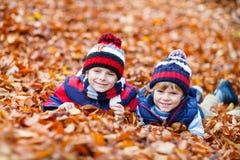 Deux garçons de petit enfant se situant dans des feuilles d'automne, en parc Photo libre de droits