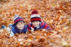 Deux garçons de petit enfant se situant dans des feuilles d'automne, en parc Photographie stock libre de droits