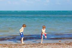 Deux garçons de petits enfants ayant l'amusement sur la plage tropicale Images libres de droits