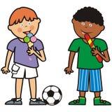 Deux garçons et bonbons, illustration comique, groupe d'enfants, icône de vecteur Photos stock