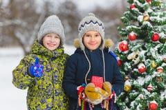 Deux garçons heureux ou des amis s'approchent de l'arbre de Noël extérieur Photo libre de droits