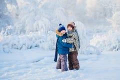 Deux garçons jouant dans une forêt d'hiver, les frères Image stock