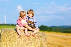 Deux garçons, jumeaux et enfants de mêmes parents de petit enfant s'asseyant le jour chaud d'été sur la pile de foin Images stock