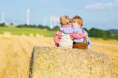 Deux garçons, jumeaux et enfants de mêmes parents de petit enfant s'asseyant le jour chaud d'été sur la pile de foin Images libres de droits