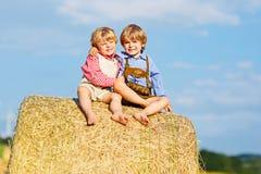 Deux garçons, jumeaux et enfants de mêmes parents de petit enfant s'asseyant le jour chaud d'été sur la pile de foin Photo stock