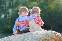 Deux garçons, jumeaux et enfants de mêmes parents de petit enfant s'asseyant le jour chaud d'été sur la pile de foin Photographie stock