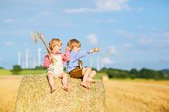 Deux garçons, jumeaux et enfants de mêmes parents de petit enfant s'asseyant le jour chaud d'été sur la pile de foin Photographie stock libre de droits