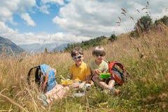Deux garçons ont le pique-nique dans le domaine de montagne Photos stock