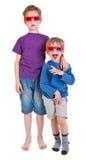 Deux garçons portant les lunettes 3D Images libres de droits