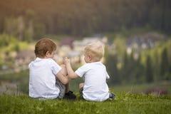 Deux garçons s'asseyent sur une colline et ont l'amusement Vue arrière Photo libre de droits