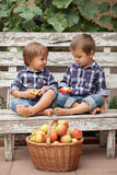 Deux garçons, se reposant sur un banc, mangeant des pommes et ayant l'amusement Image libre de droits
