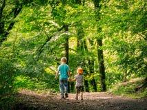 Deux garçons vont le long du chemin dans les mains vertes de forêt et de prise image stock