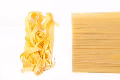 Deux genres de spaghetti Photo libre de droits