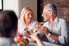Deux gentilles personnes causant à la table de dîner Images libres de droits