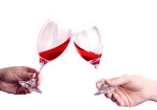Deux glaces avec du vin Photo stock