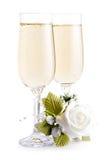Deux glaces de champagne Images stock