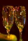 Deux glaces de champagne. Plan rapproché. Unfocused Photos libres de droits