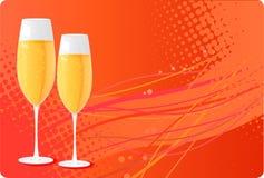 Deux glaces de champagne sur le fond tramé Image libre de droits