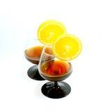 Deux glaces de cognac Photographie stock