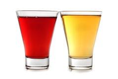 Deux glaces de couleur de martini Photographie stock libre de droits