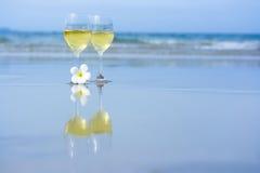 Deux glaces de vin blanc Photo libre de droits