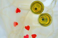 Deux glaces de vin blanc Image libre de droits
