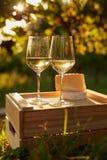 Deux glaces de vin blanc Photographie stock