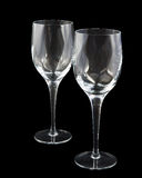 Deux glaces de vin en cristal sur le fond foncé, avec Photographie stock libre de droits