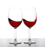 Deux glaces de vin rouge Photos stock