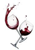 Deux glaces de vin rouge Images libres de droits