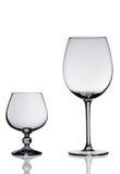 Deux glaces de vin vides. Photos libres de droits