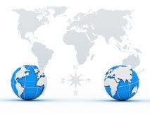 Deux globes sur le fond de la carte Photos stock