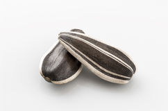 Deux graines de tournesol sur le blanc Photographie stock