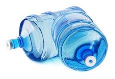 Deux grandes bouteilles de l'eau sur le fond blanc Photos libres de droits