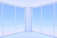 Deux grandes fenêtres dans la pièce bleue vide de local commercial illustration de vecteur