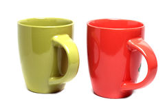 Deux grandes tasses colorées Images stock