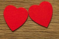 Deux grands coeurs rouges Image libre de droits
