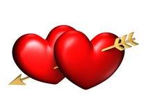 Deux grands coeurs rouges et potelés avec une flèche Photo stock