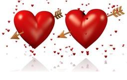 Deux grands et coeurs rouges avec les flèches et les un bon nombre d'or de coeur minuscule illustration stock