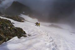 Deux grimpeurs dans la hausse de montagnes image libre de droits