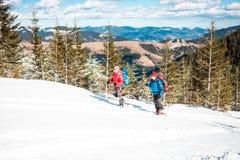 Deux grimpeurs sont dans les montagnes Image libre de droits